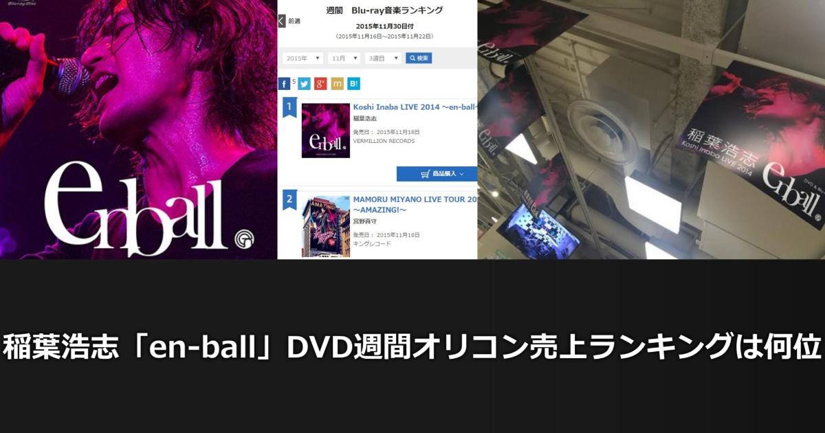 稲葉浩志「en-ball」DVD&ブルーレイ週間オリコン売上ランキングは何位??