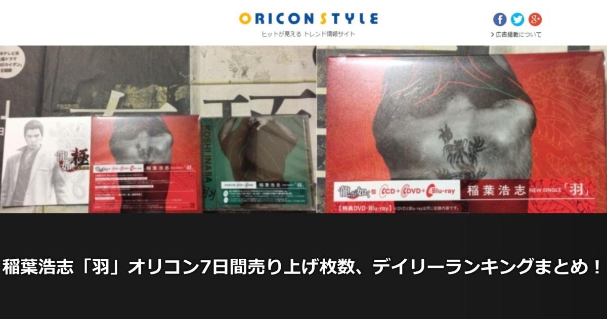 稲葉浩志「羽」オリコン7日間売り上げ枚数、デイリーランキングまとめ!