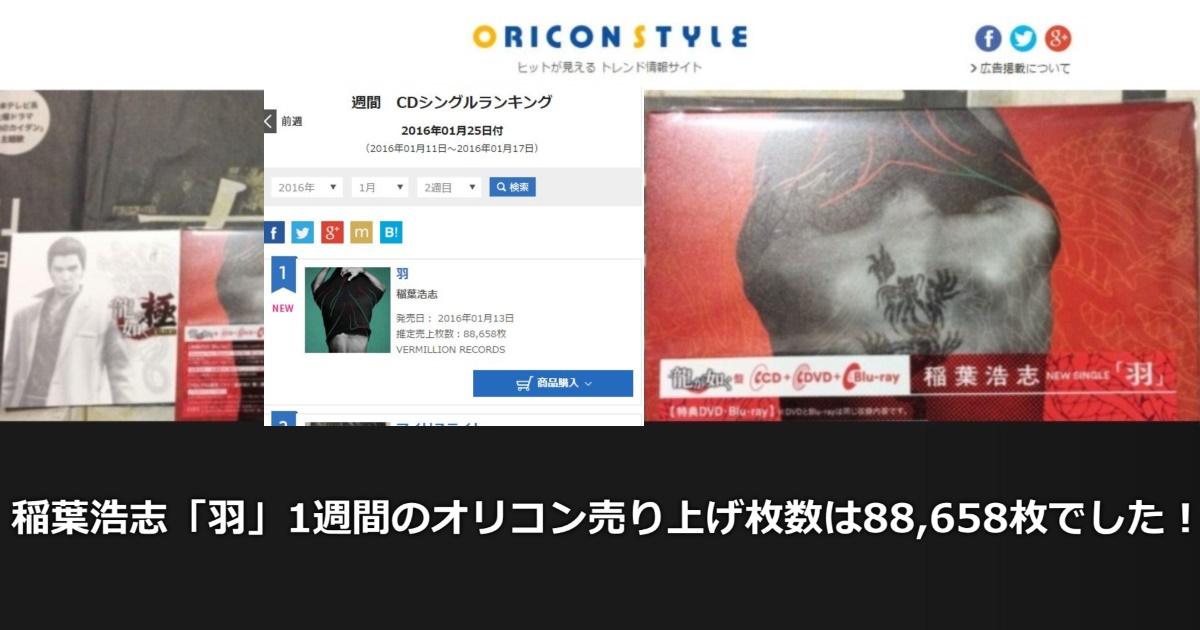 稲葉浩志「羽」1週間のオリコン売り上げ枚数は88,658枚でした!!